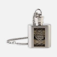 Vintage Catrina Calavera Flask Necklace
