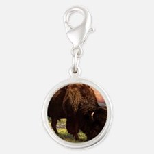 Vintage Bison Painting Silver Round Charm