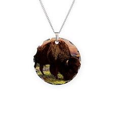Vintage Bison Painting Necklace