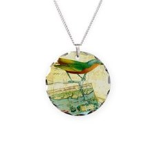 Vintage Tropical Bird Poster Necklace