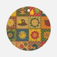 Country Patchwork Round Ornament