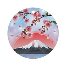 Japanese Landscape Round Ornament
