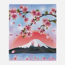 Japanese Landscape Throw Blanket