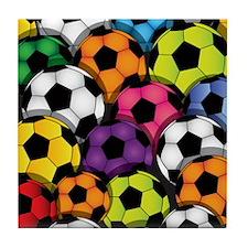 Colorful Soccer Balls Tile Coaster