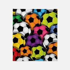 Colorful Soccer Balls Throw Blanket