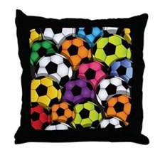 Colorful Soccer Balls Throw Pillow
