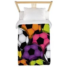 Colorful Soccer Balls Twin Duvet
