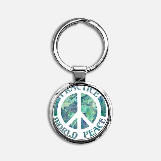 Practice World Peace Round Keychain
