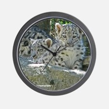 Baby Snow Leopards Wall Clock
