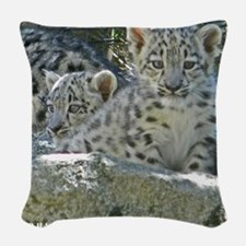 Baby Snow Leopards Woven Throw Pillow