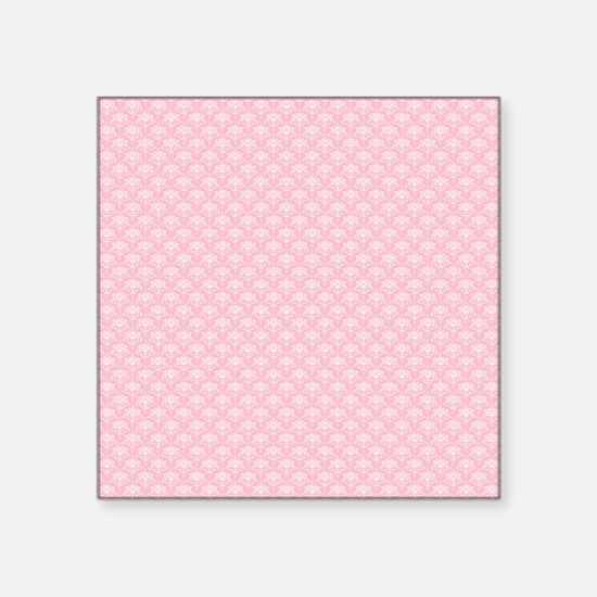 """Pink and White Floral Damas Square Sticker 3"""" x 3"""""""