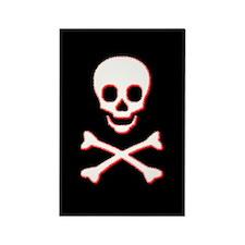 Pirate Skull Rectangle Magnet (Black)