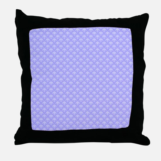 Periwinkle and White Floral Damask Throw Pillow
