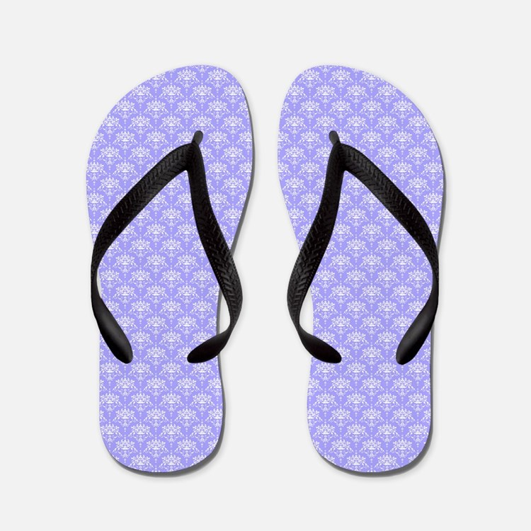 Periwinkle and White Floral Damask Flip Flops