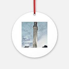 Pilgrim Monument - Blue Round Ornament