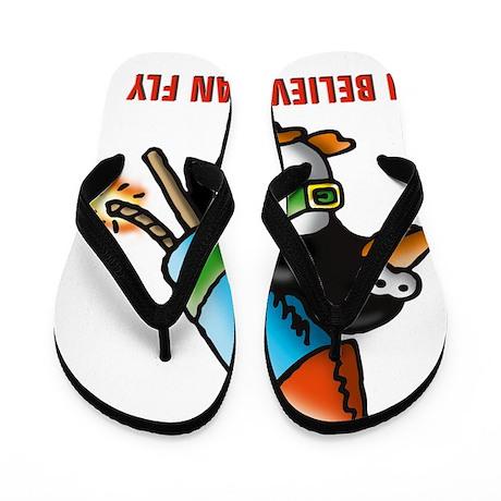 flying comic rocket penguin astronaut s Flip Flops