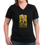 Stop Global Warming -- Women's V-Neck Dark T-Shirt
