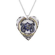 uss harold j. ellison patch t Necklace Heart Charm