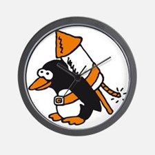flying comic rocket penguin Wall Clock