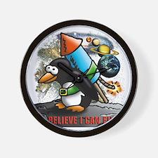 flying comic rocket penguin astronaut s Wall Clock