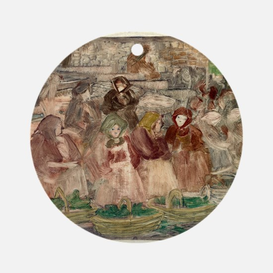 Market scene - Maurice Pendergast - 1900 Round Orn