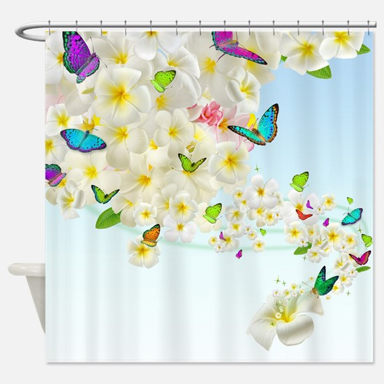 Plumeria Butterflies Shower Curtain