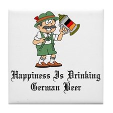 Happiness Is German Beer Pint Glass Tile Coaster