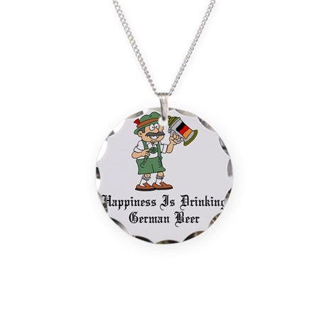 Happiness Is German Beer Pin Necklace Circle Charm