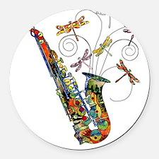 Wild Saxophone Round Car Magnet