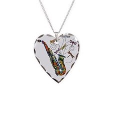 Wild Saxophone Necklace Heart Charm