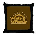 White & Nerdy Throw Pillow