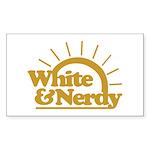 White & Nerdy Rectangle Sticker