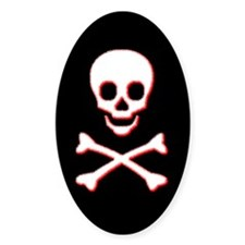 Pirate Skull Oval Sticker (Black)