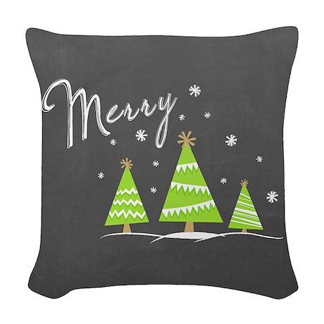 Merry Trees Woven Throw Pillow