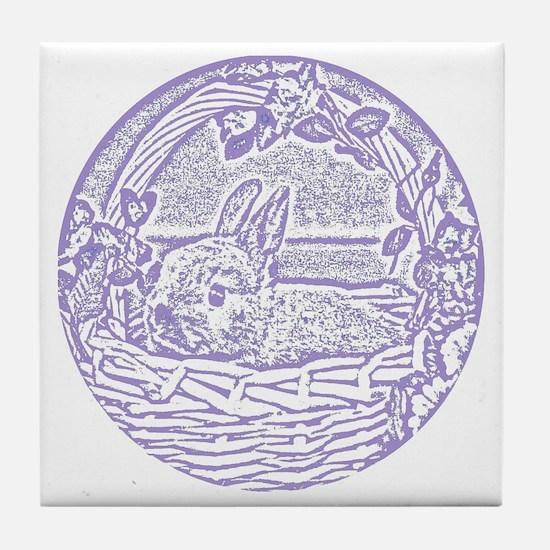 Lavender Basket Bunny Woodcut Tile Coaster