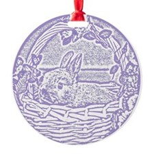 Lavender Basket Bunny Woodcut Ornament