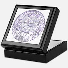 Lavender Basket Bunny Woodcut Keepsake Box