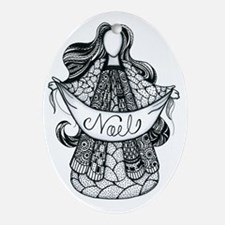 Angelic Doodle Oval Ornament