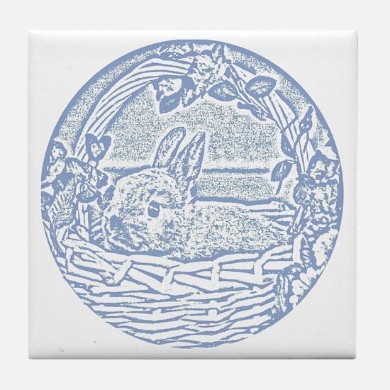 Wedgewood Blue Basket Bunny Woodcut Tile Coaster
