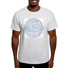 Wedgewood Blue Basket Bunny Woodcut T-Shirt