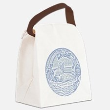 Wedgewood Blue Basket Bunny Woodc Canvas Lunch Bag