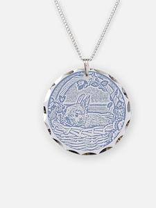 Wedgewood Blue Basket Bunny  Necklace