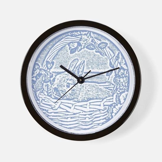 Wedgewood Blue Basket Bunny Woodcut Wall Clock