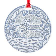 Wedgewood Blue Basket Bunny Woodcut Ornament