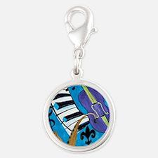 Jazz Music art Silver Round Charm