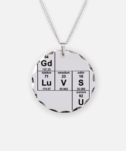 Periodic Table God Loves You Necklace Circle Charm