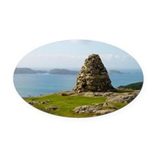 Greeting Card, Cairn on Iona Oval Car Magnet