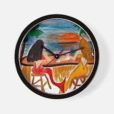 Martini Mermaids art Wall Clock