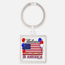 Believe In America Square Keychain
