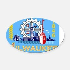 Milwaukee Flag Oval Car Magnet